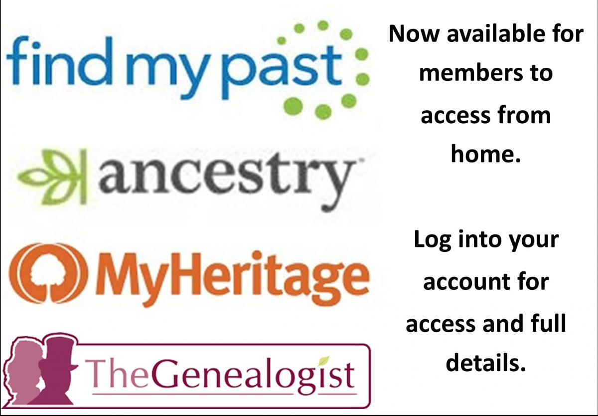 Members access to MyHeritage,findmypast and Thegenealogist