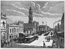 Two Suburban Street - Chapel Street Prahran, 1889, A.C.Cooke, SLV PCINF AS 03/10/89 157a.