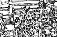 Shakespeare's 'hood', London c.1600 . The Agas Map.